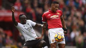 SADIO MANE LIVERPOOL ANTONIO VALENCIA MANCHESTER UNITED PREMIER LEAGUE 10032018