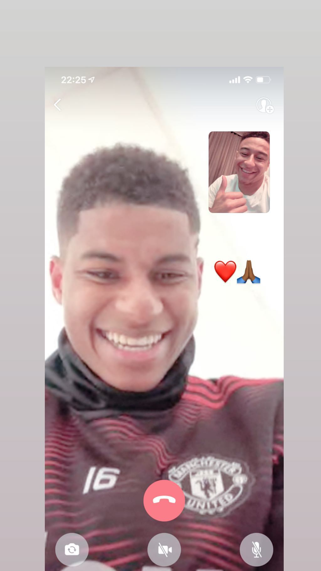 Jesse Lingard Marcus Rashford Instagram Video Call