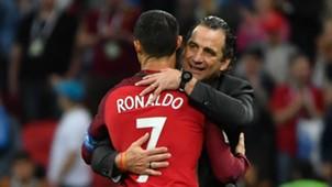 Juan Antonio Pizzi y Cristiano Ronaldo Chile Portugal 280617