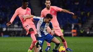 Ousmane Dembele Marc Roca Sergio Busquets Espanyol Barcelona LaLiga 08122018