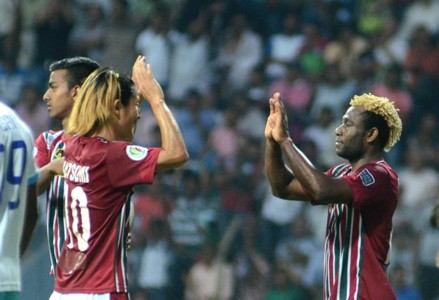 Norde and Yusa celebrate for Mohun Bagan