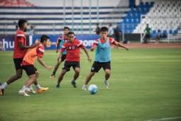 Bengaluru FC players in training at the Bangalore Football Stadium, in Bengaluru, on Tuesday.