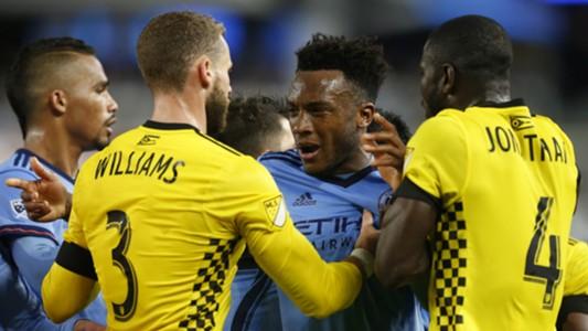 Rodney Wallace Josh Williams Jonathan Mensah New York City FC Columbus Crew
