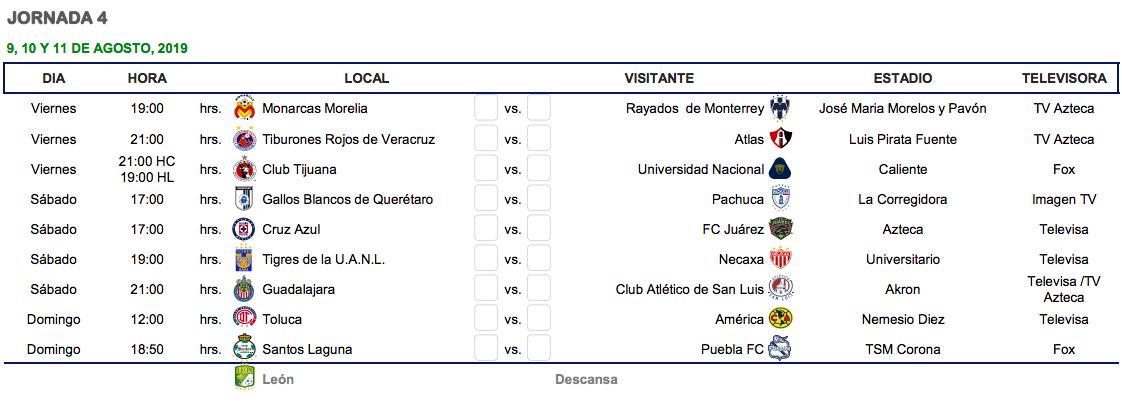 Calendario De La Liga Espanola De Futbol.Cual Es El Calendario Del Apertura 2019 De La Liga Mx Goal Com