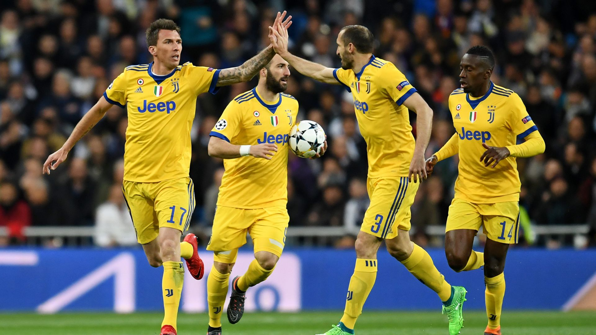 Juventus celebrates Mario Mandzukic goal vs. Real Madrid