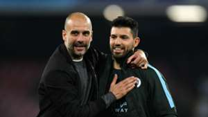 Pep Guardiola Sergio Aguero Manchester City Napoli Champions League