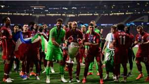 Alisson, Fabinho e Roberto Firmino Tottenham Liverpool Champions League