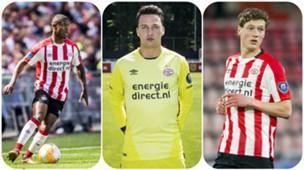 Collage PSV: Paal, Koopmans, Lammers