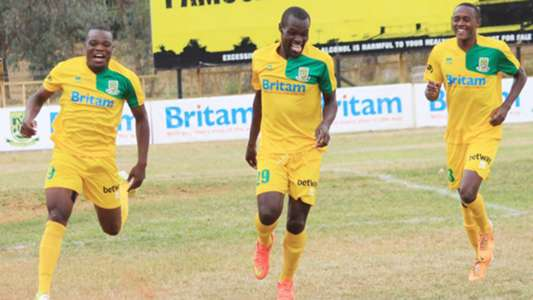 Mathare United celebrates against Zoo Kericho.
