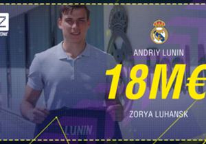 Andriy Lunin - Du Zorya Luhansk au Real Madrid - 18 millions d'euros - Contrat de 6 ans