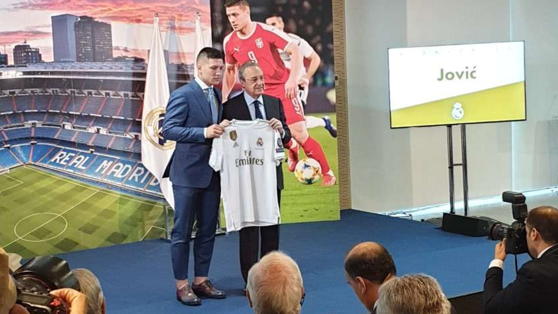 Luka Jovic and Florentino Perez during the official unveiling as Real Madrid player