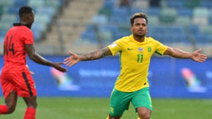 Kermit Erasmus celebrates his second Bafana goal