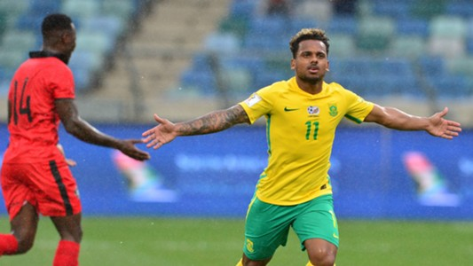 Kermit Erasmus celebrates his second Bafana goal