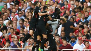 Sadio Mane Liverpool celebrate v Arsenal