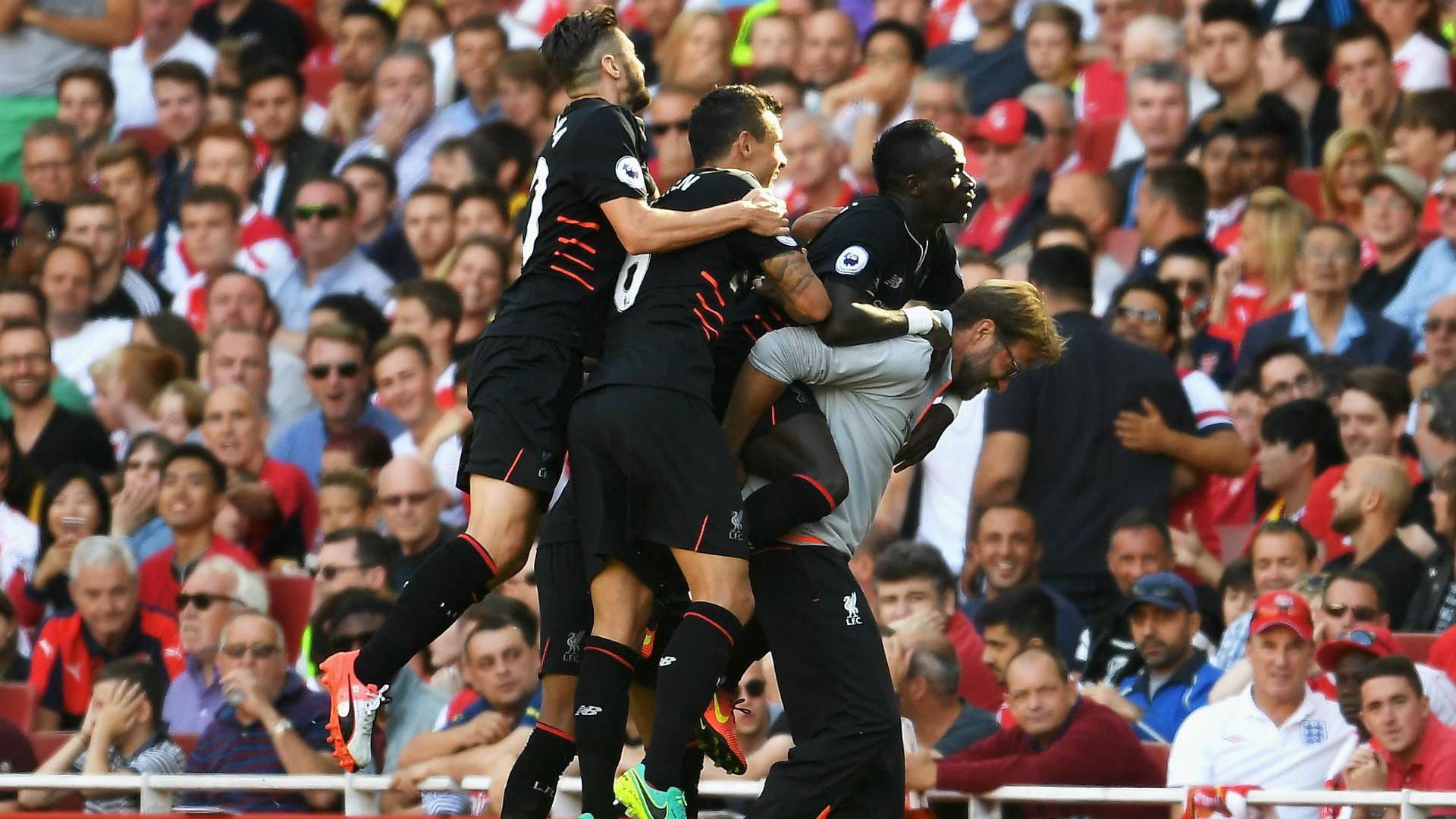 Sadio Mane Liverpool celebrate v Arsenal