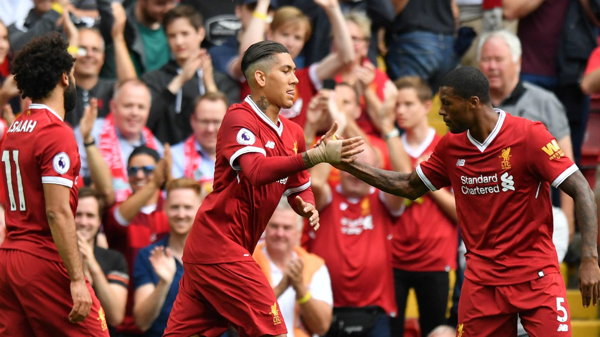 Liverpool celebrate Salah Wijnaldum Firmino