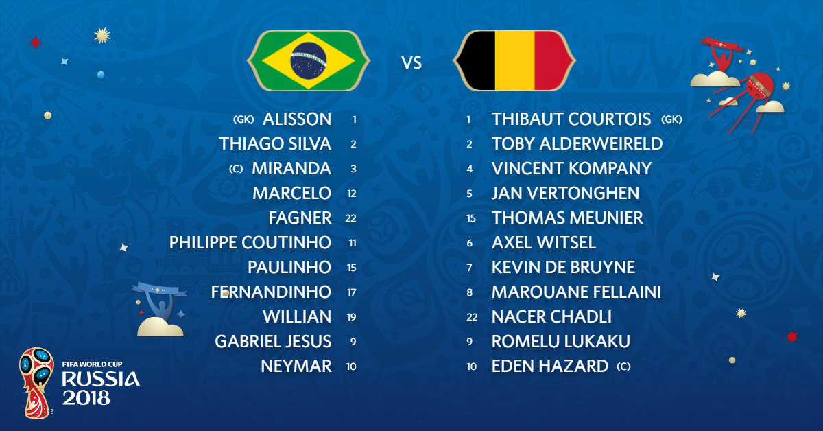 Russia 2018, Brasile-Belgio 1-2: 90' per Miranda