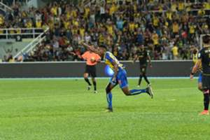 Pahang's Mohamadou Sumareh celebrates his goal against T-Team 27/1/2017