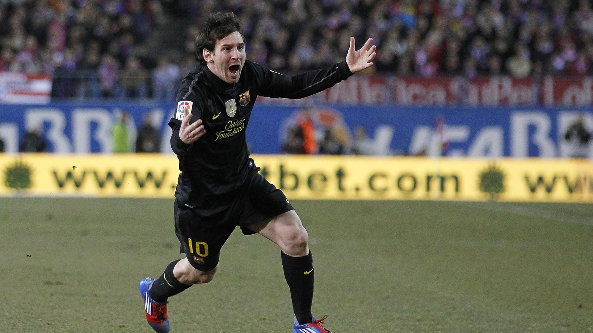 Messi celebrates against Atletico Madrid