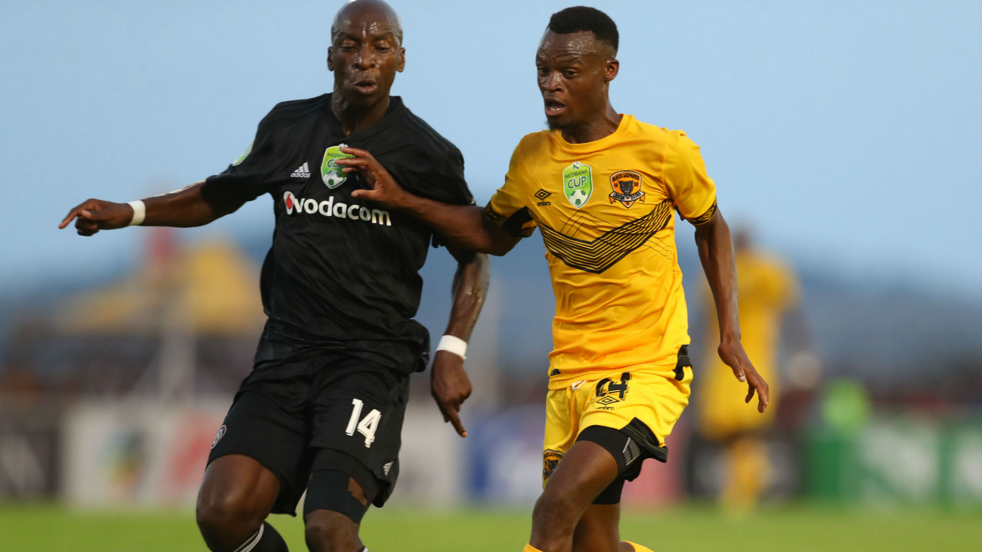 Ivan Mahangwahaya of Black Leopards challenged by Musa Nyatama of Orlando Pirates during the 2019 Nedbank Cup match