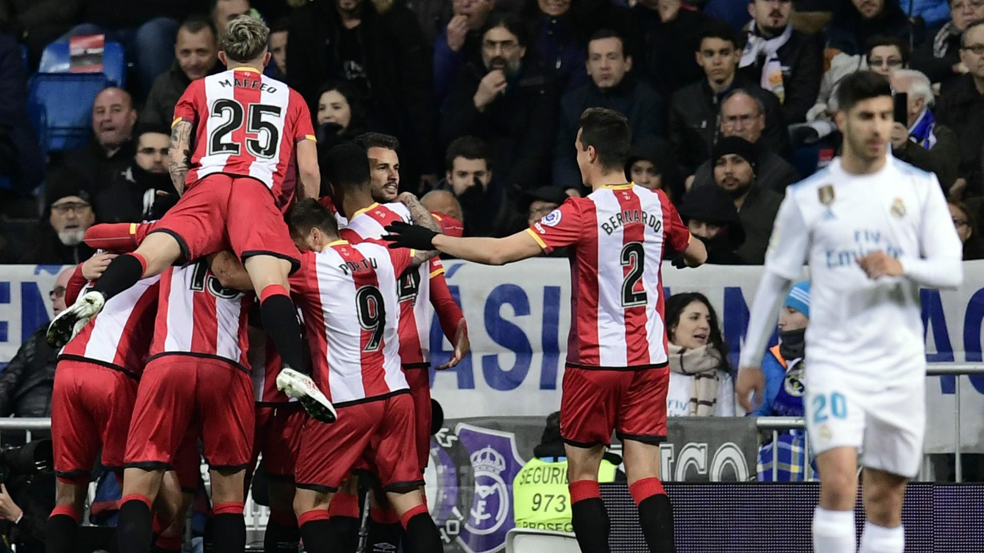Girona celebrate Real Madrid