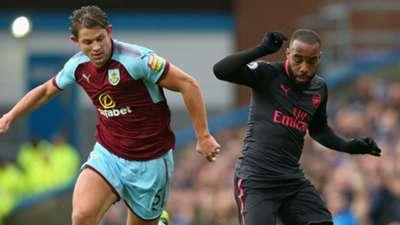 James Tarkowski Burnley Alexandre Lacazette Arsenal