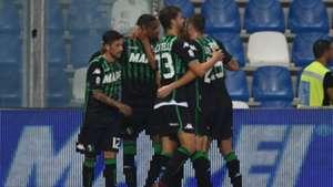 Sassuolo players celebrating Sassuolo Empoli Serie A