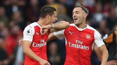 Granit Xhaka Lucas Perez Arsenal Premier League