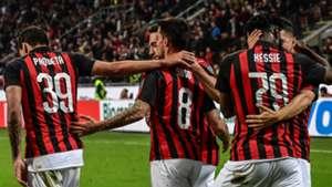 AC Milan celebrate Suso goal vs Bologna 2019