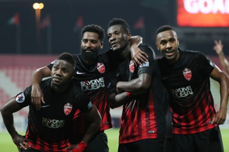 Al Ahli celebrate; Gyan
