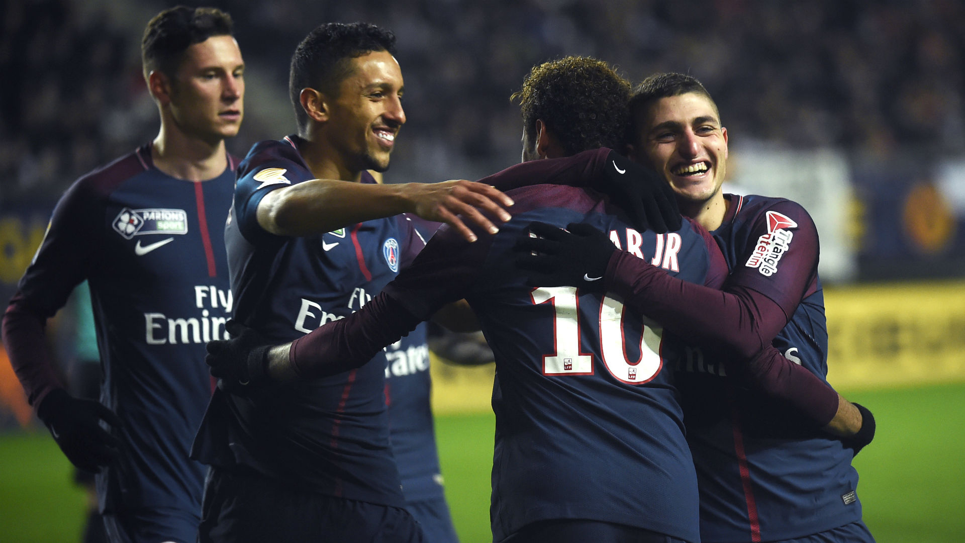 Neymar Marquinhos Marco Verratti Amiens PSG Coupe de la Ligue 10012018