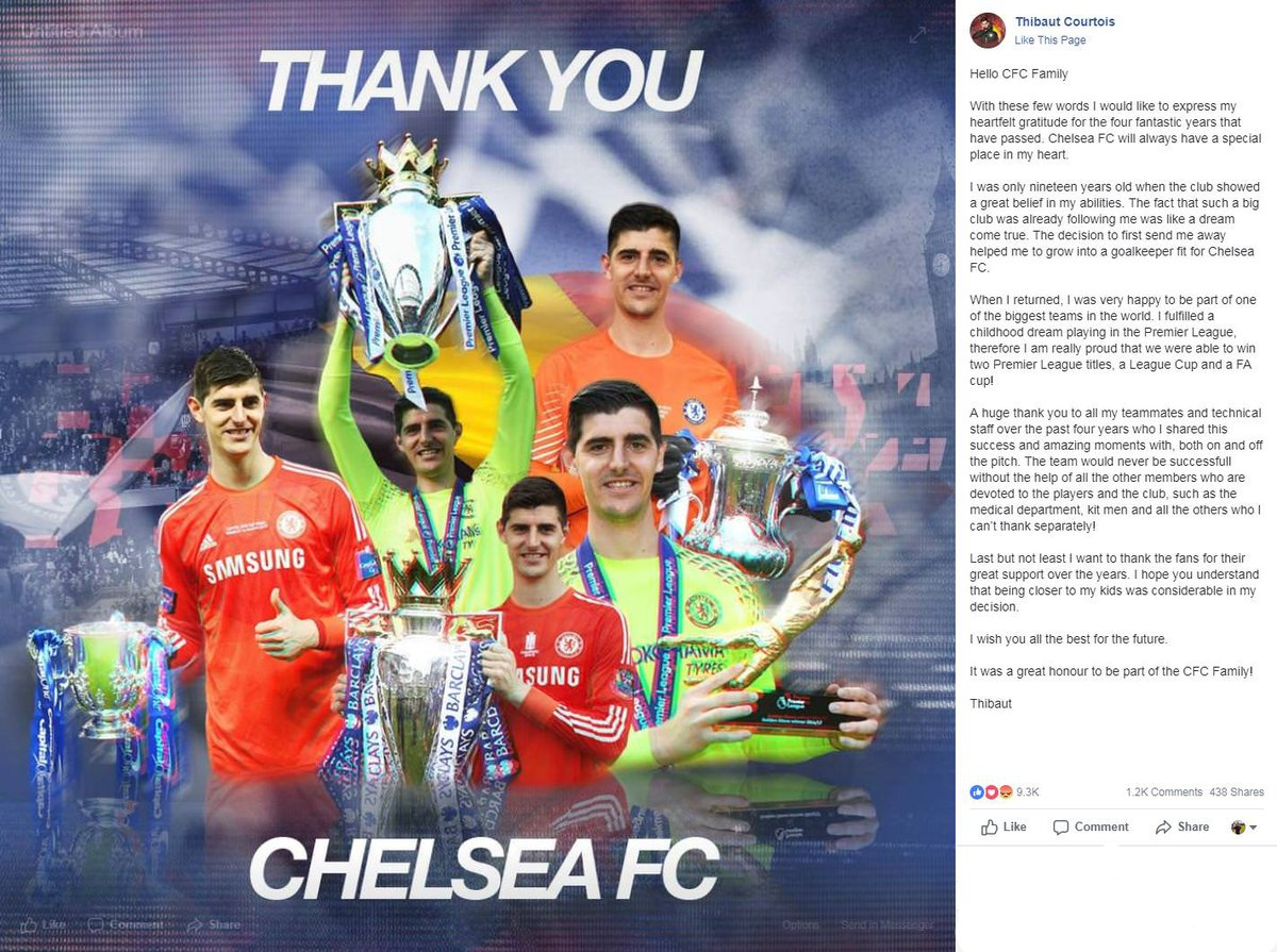 Reaction Courtois left Chelsea