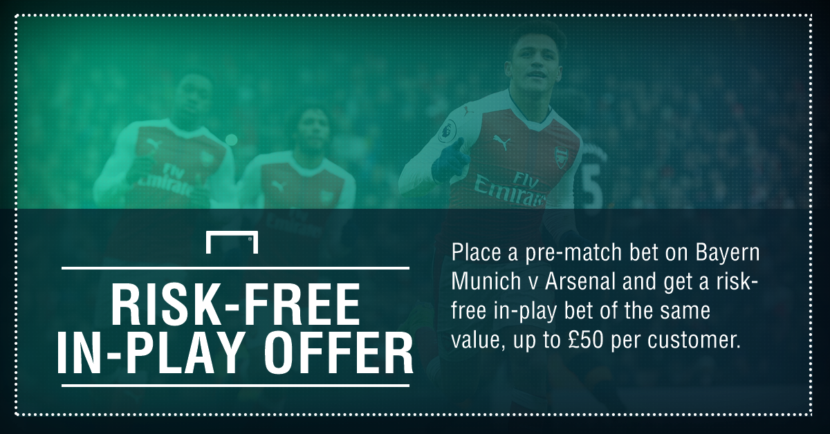 Betting: £50 Risk-free in-play bet on Bayern Munich vs Arsenal