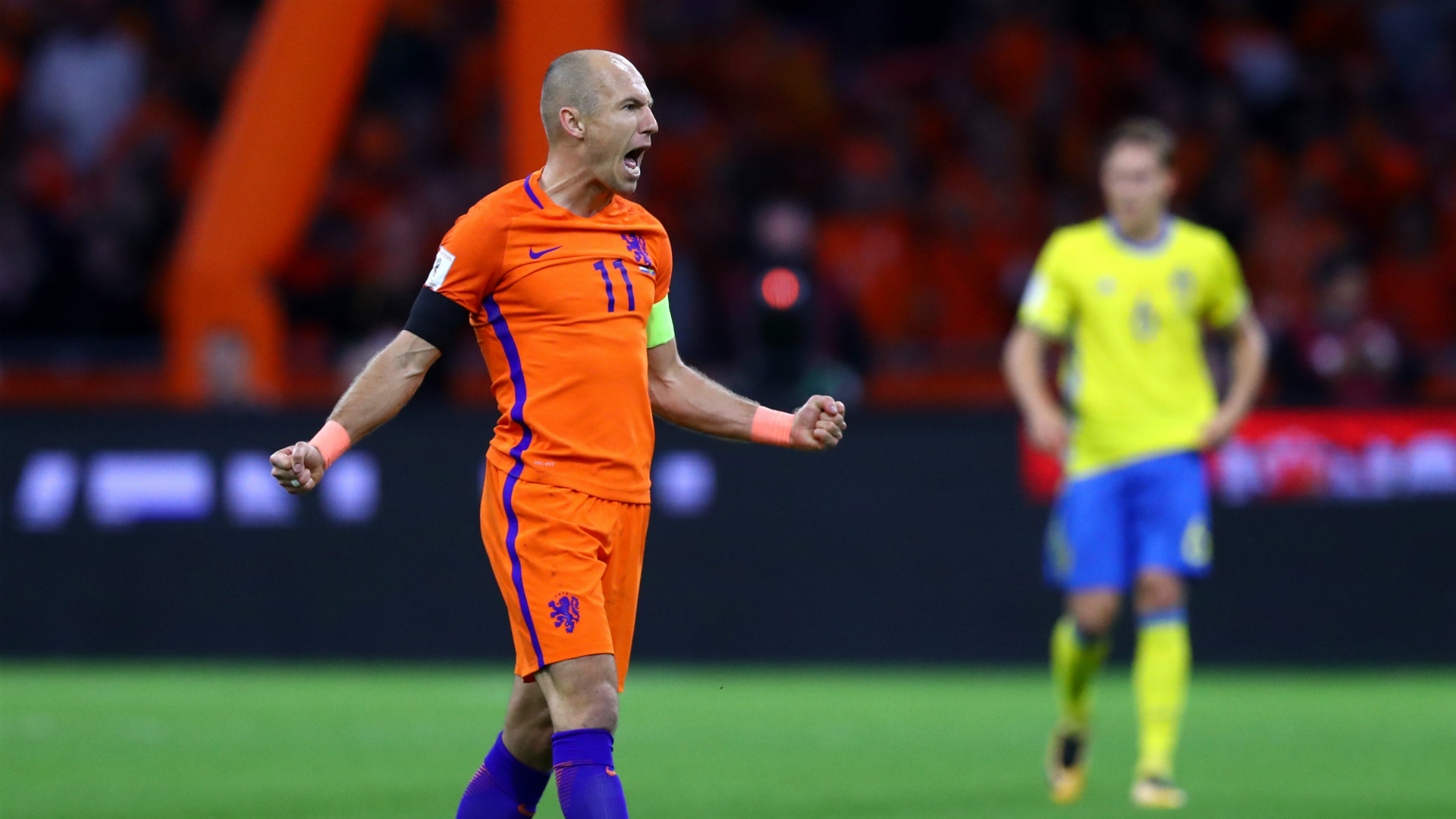 Playoff-bound Sweden beaten as Robben signs off in style for Dutch