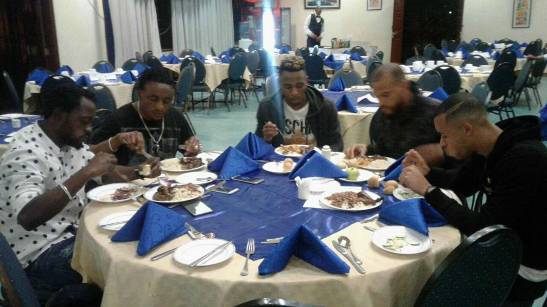 DR Congo players having meal upon arriving in Kenya