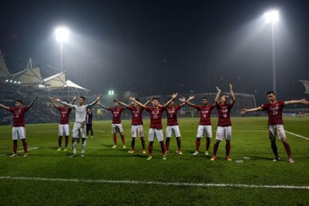 Guangzhou Evergrande celebrate after beating Eastern SC in AFC CL 2017