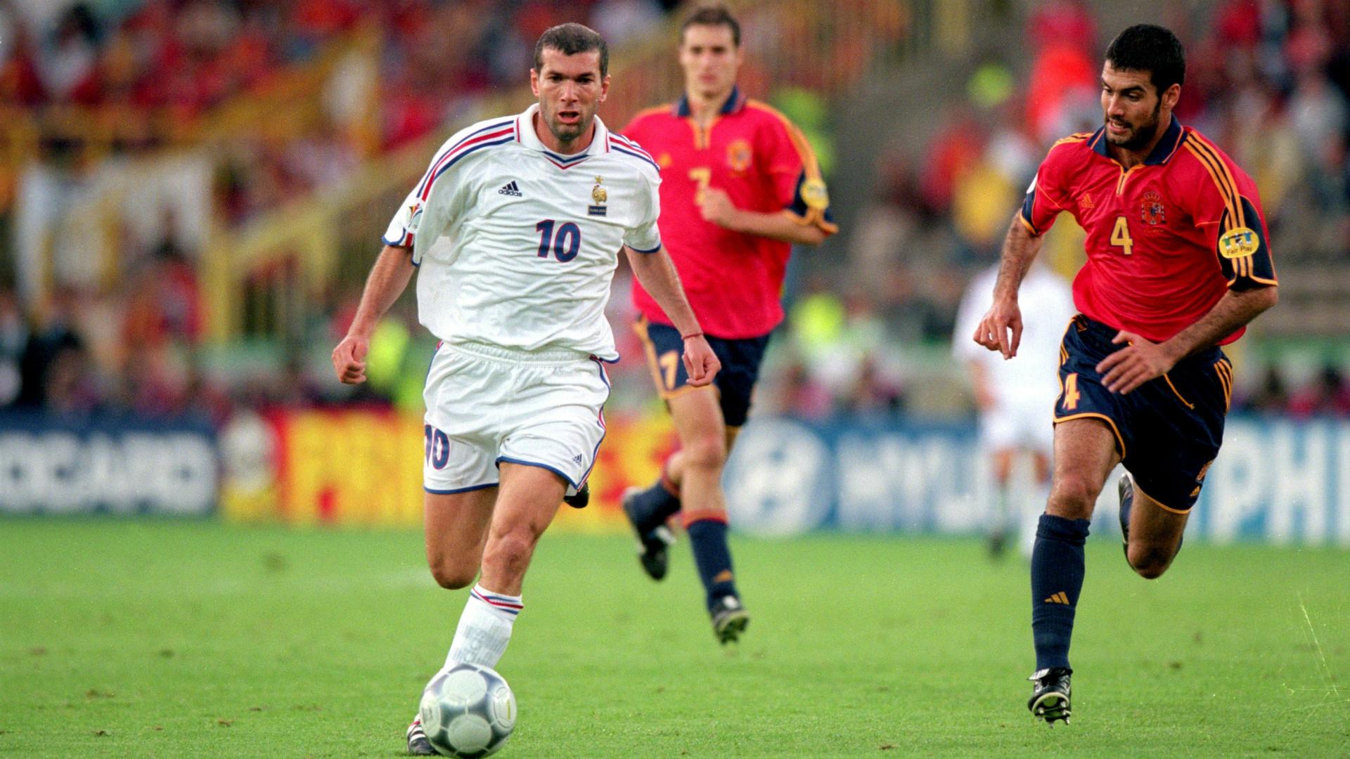 Zidane, Guardiola, España, Francia, Spain Euro 2000