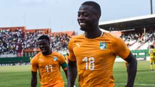 Nicolas Pepe and Serge Aurier of the Cote d'Ivoire