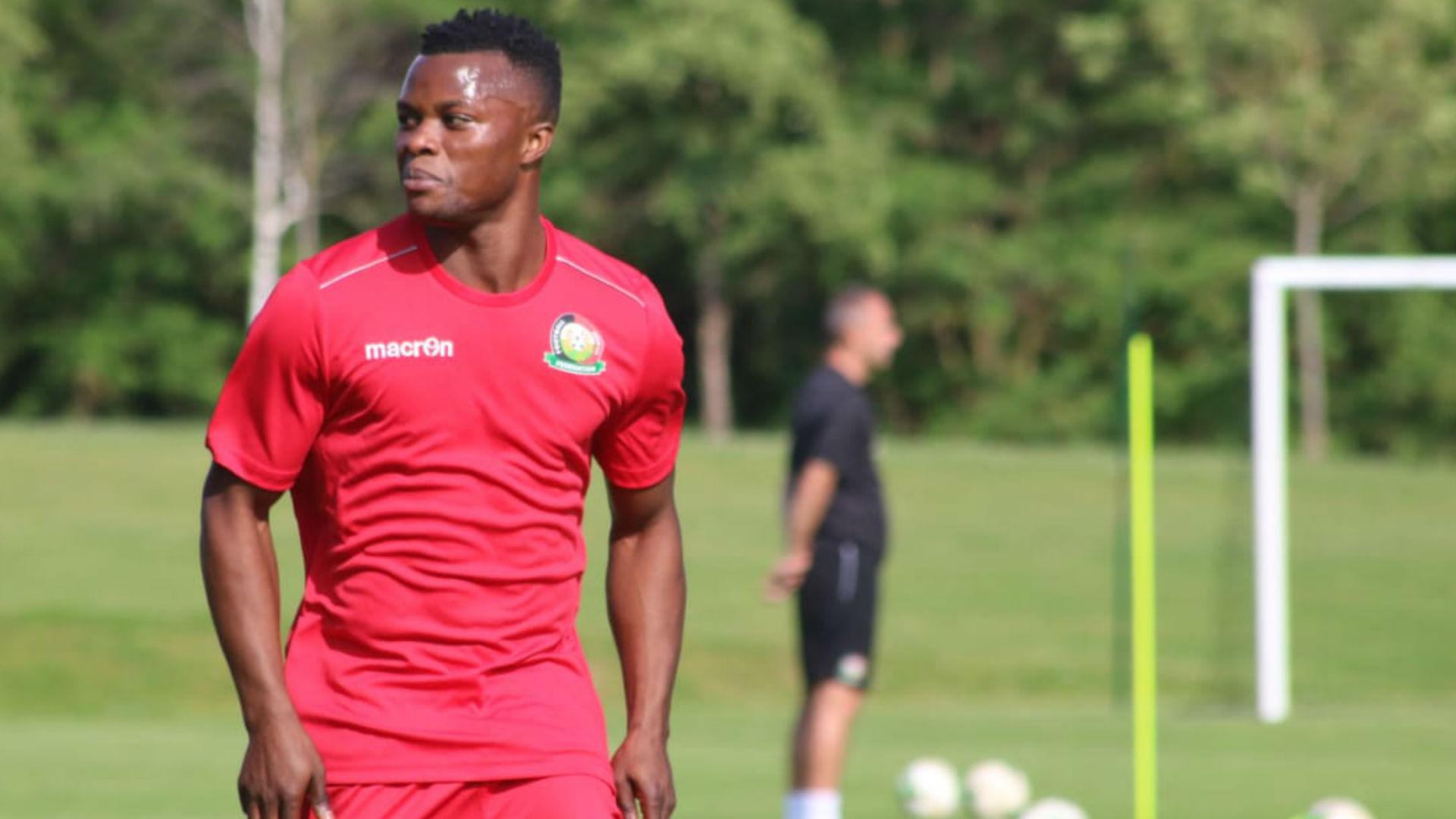 Ayub Timbe of Harambee Stars in training.