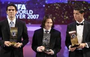 Ballon d'Or 2007 Kaka Lionel Messi Cristiano Ronaldo