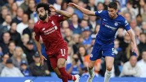 Mohamed Salah Jorginho Chelsea Liverpool 29092018