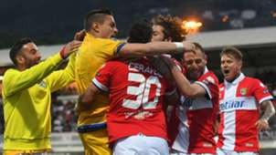 Parma players celebrating Spezia Parma Serie B