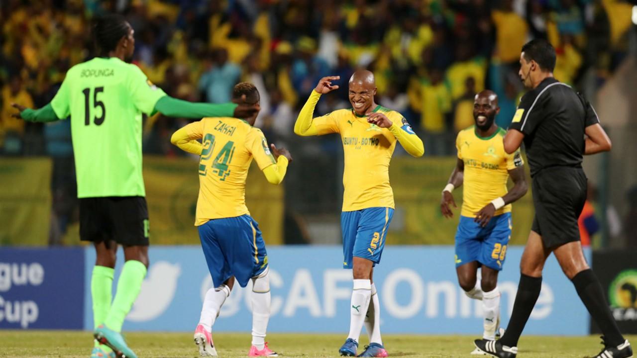 Thabo Nthethe celebrates with Sundowns teammates vs AS Vita ClubThabo Nthethe celebrates with Sundowns teammates vs AS Vita Club
