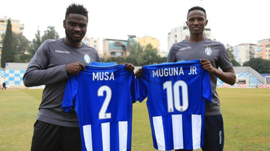 Musa Mohammed and Kenneth Muguna of Gor Mahia and KF Tirana.