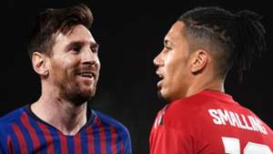 Lionel Messi Chris Smalling Barcelona Man Utd