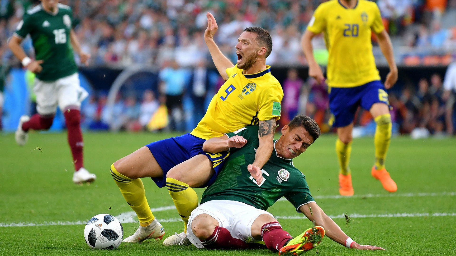 Marcus Berg Sweden Hector Moreno Mexico World Cup 2018