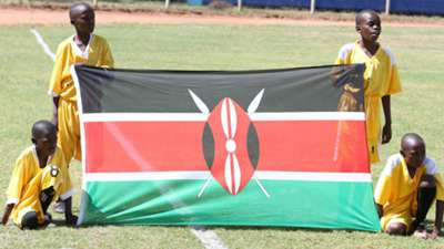 Harambee Stars flag before kick-off.