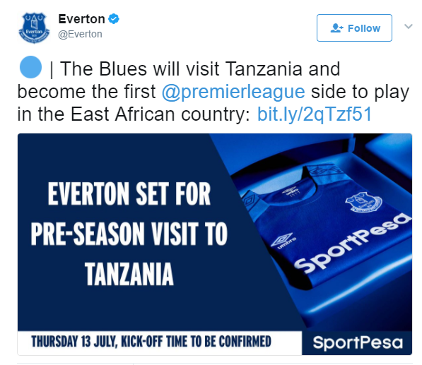 Everton to Tanzania tweet