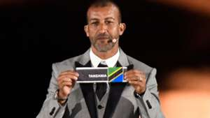 Former Moroccan forward Mustapha Hadji shows Tanzania's ballot the 2019 CAF African Cup of Nations (CAN) draw