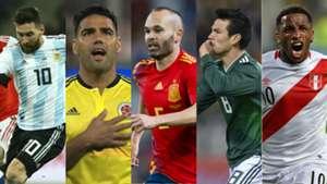 Messi, Falcao, Iniesta, Lozano, Farfán